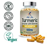 Turmeric Curcumin 600mg Supplement By Rite-Flex - Anti-Inflammatory Pills w/ BioPerine For 2X Joint Support Power - Non-GMO and Gluten Free - 50 mg Curcumin - 180 Easy-to-Swallow Vegan Capsules (600 mg) by Rite-Flex