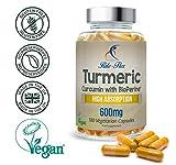 Cúrcuma Curcumina 600mg con BioPerine® 180 Cápsulas Vegetarianas y Veganas de Eficacia Óptima y Alta Absorción, de Rite Flex