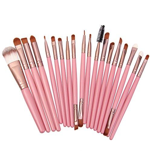 Set 20pcs Pinceaux de Maquillage Fond de Teint Poudre Contour Visage Yeux - Rose + Café