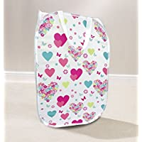 Krishwear Laundry Washing Bag Basket Storage Bin Dirty Clothes Diamante (White With Various Prints)