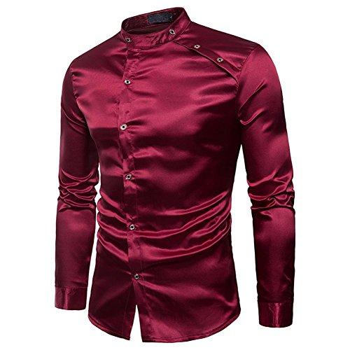 Domybest Herren glänzen Stehkragen Lässig Lange Ärmel Schrägen Knopf Shirt (Weinrot XL) (Stehkragen Lange Ärmel Baumwolle)