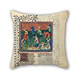 PaPaver The Oil Painting Gaston Phoebus - Livre De La Chasse Pillowcover Of 18 X 18 Inches / 45 By 45 Cm Decoration Gift For Couch Shop Couples Home Theater Her Dance Room (two Sides)