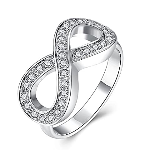 Thumby Tin Alloy Imitation Rhodium Plated 5.5g Trendy 8 Word Ring for Women,weiße,6