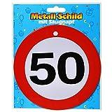 Preis am Stiel 1 x Geburtstags Metall-Schild mit Saugnapf 50