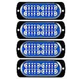 4 pezzi 12W 20 LED Lampeggiante Emergenza Strobo Avvertimento Luci Blu 12-24V per Rimorchio Camion Caravan Impermeabile