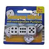 3x Senioren-Würfel Spielwürfel Knobel Würfel Cube extra große Punkte weiß