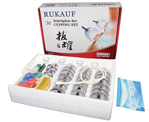 HQ Massage Schröpfen XXL Set mit 32 Schröpfgläser aus Kunststoff mit Magneten + Vakuumpumpe -
