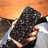 Miagon Glänzend Hülle für Samsung Galaxy Note 10,3D Handschlaufe Glitzer Bling Strass Hülle Diamant Transparent Handyhülle Bumper Case Tasche Schutzhülle,Schwarz