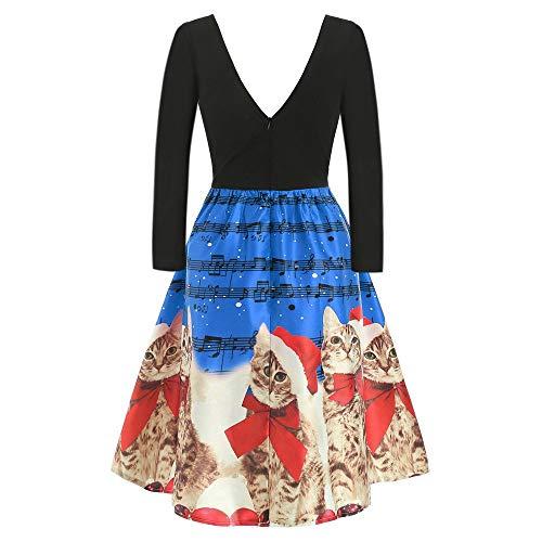Kostüm Prinzessin Mafia - Zottom Weihnachten Vintage Cat Musical Print Kleid Frauen Langarm Weihnachtskatzen Musiknoten Print Vintage Flare Kleid