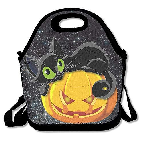 wuling Halloween Schwarze Katze Lunch Bag Tote Handtasche Lunchbox für Schularbeiten im Freien