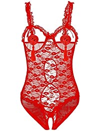 Amilia Sexy Lingerie Femme Lace Rose Transparent Bikini Sous-vêtement Sexy Erotique Robe de Nuit Coquine Taille Euro