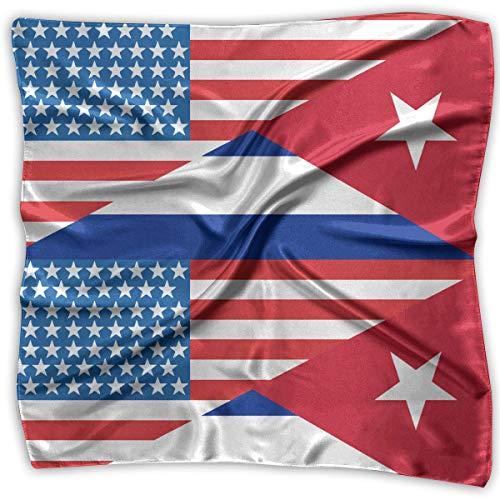 Rghkjlp Half USA Half Cuba Flag Men Women Silky Scarf Band Bandana Wrap Scarf Man Wrap
