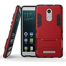 Funda para Xiaomi Redmi Note 3 / Redmi Note 3 Pro (5,5 Pulgadas) 2 en 1 Híbrida Rugged Armor Case Choque Absorción Protección Dual Layer Bumper Carcasa con pata de Cabra (Rojo)
