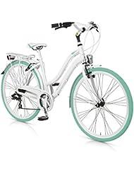 """MBM  Vintage - Bicicleta de paseo para mujer de 21 velocidades, cuadro de aluminio hidroformado talla 46, frenos V-Brake, ruedas de 28"""", color blanco y verde claro"""