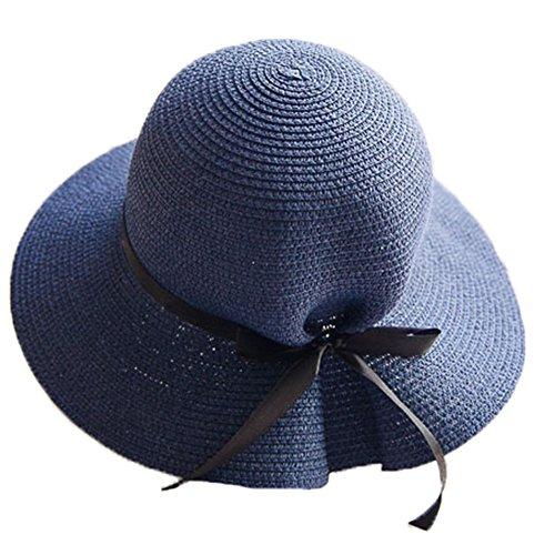 Chapeau de Soleil Paille Pliable Paille Printemps d'Été Femme Fille Bleu