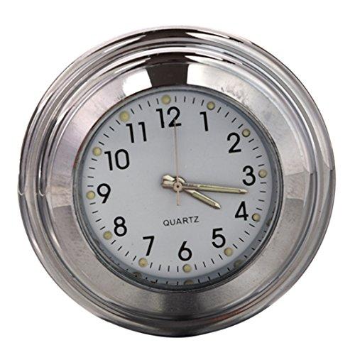 """Lenker Uhr - SODIAL(R) wasserdichte Motorrad Zubehoer: 7/8 \""""Motorrad Fahrrad Lenkerhalterung Zeit-Uhr Silber + Weiss"""