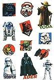 12 tlg. Set: Haut Tattoo -  Star Wars / Darth Vader  - Jungen & Mädchen - für Kinder - Tattoos Hauttattoo - Yoda - Luke Skywalker / R2 D2 - Storm Trooper - Starwars / Erwachsene - Clonewars - Krieg der Sterne - Aufkleber Sticker - Erwachsene - Kindertattoos