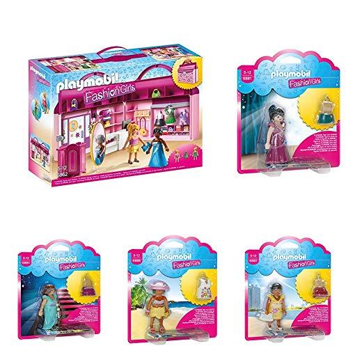 Playmobil Fashion Spielset - Modeboutique zum Mitnehmen + Fashion Girl Party + Fashion Girl Fifties + Fashion Girl Summer + Fashion Girl Dinner + Fashion Girl Beach (Mode Mädchen Fifties Für)