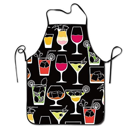 Wunderschöne praktische Ware, für Männer und Frauen, Alkoholgetränke, Cocktails, Chef&Cook, Küchen-Lätzchen, Schürze, wasserdicht, perfekt zum Kochen, Backen, Basteln, Grillen, 71,9 x 52,1 cm Chef-cocktail