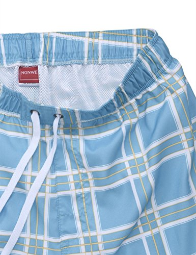 ... nonwe Herren Fashion Color Block Print Swim Shorts Beachwear Board  Shorts mit Mesh Futter Himmelblau ...