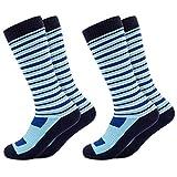 Occulto 2 Paar Kinder Skisocken | Kniestrümpfe für Jungen und Mädchen | Warme Kinder Winter Thermo Socken Größen 23-38 | Winter Sportsocken für Kinder (31-34, Blau)