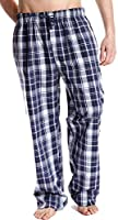 Mens Plaid Check Cool Polycotton Summer Pyjama Bottoms Lounge Wear Pants