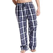 Hombre De Cuadros Genial Polialgodón Verano Pantalón De Pijama Ropa De Descanso Pantalón