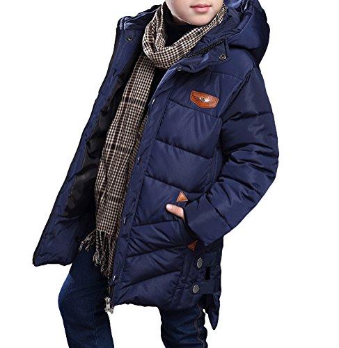 MILEEO Jungen Mantel Jacket Parka Kinder Jungen Mantel Winter Baumwolle Kindermantel Langarm Outwear Wintermantel mit Kapuze Winterjacke Steppjcake Coat, LBlau