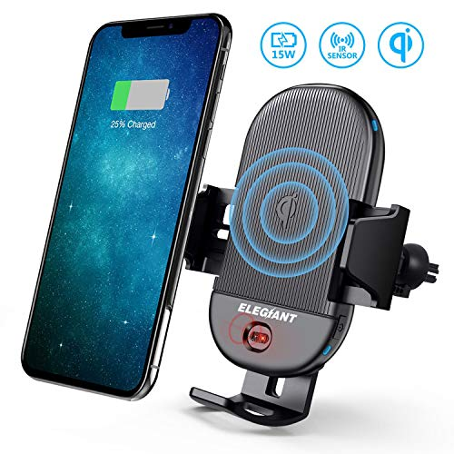 ELEGIANT Handyhalterung Auto Wireless Charger Qi KFZ Handyhalter mit Infrarot Sensor Handy Halterung Induktions Ladegerät 15W MAX mit Lüftungshalterung für Galaxy iPhone alle Qi Fähige Geräte