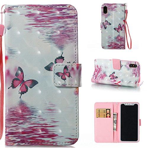 Ooboom® Hülle für iPhone X Handy Tasche 3D Flip PU Leder Schutzhülle Stand Brieftasche Wallet Case Cover mit Trageschlaufe - Vogel Schmetterling Lila