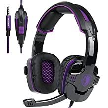 SA930 purple 3.5mm Stereo Gaming Headset with Microphone Over Ear Headphones for PC/MAC/PS4(Purple)
