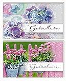 Karte Gutschein allgemein 2 Motive Blumen Tausendschön lila Blumen - Liefermenge 10 Stück