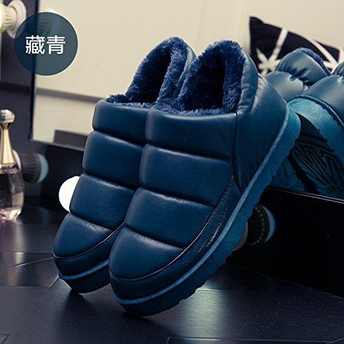 DogHaccd pantofole,Inverno paio di pantofole di cotone confezione con gli uomini e le donne calde scarpe indoor cotone impermeabile indossa spesso, antiscivolo scarpe di cotone Blu scuro2