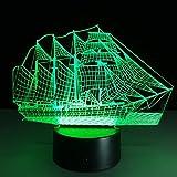 Mamum 3D Vielzahl von LED-Lampe, 3d optische Täuschung Nachtlicht 7 Farben ändern, um das Möbel Raumtischlampe Bett zu Hause one size Mehrfarben