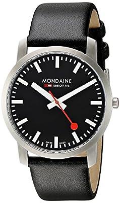Mondaine SBB Simply Elegant 41mm A6383035014SBB Reloj de pulsera Cuarzo Hombre correa de Cuero Negro de Mondaine