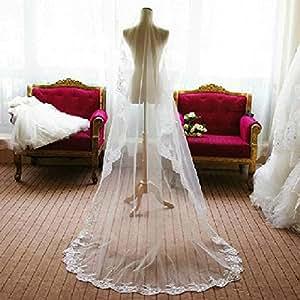 PIXNOR da sposa velo Mantilla lunga monistico bianco ricamo pizzo bordo Decor (2.6 m)
