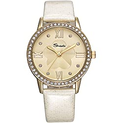 Fashion Simple Rhinestone Leather Strap Quartz Wrist Watch For Women,White