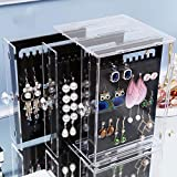 Ohrring Display Box Organizer Halter Stand Schmuck Aufbewahrungsbox Acryl klar Staubfrei Ohrring Ohrstecker Halsketten und Armbändern Aufbewahrung