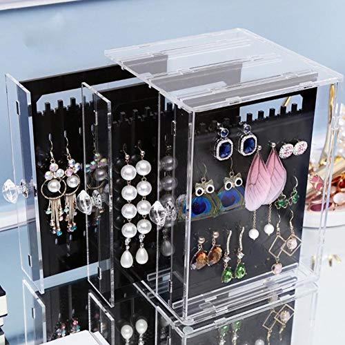 Acryl-Ohrring-Ausstellungsstand, Aufhänger-Schmuck-Aufbewahrungsbox, Organizer ohne Abdeckung stapelbar, Ohrring-Halter mit vertikaler 3-Schublade für Zuhause (Acryl Schrank Organizer)