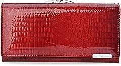 Idea Regalo - Elegante – Portafoglio da donna 100% in pelle con chiusura a scatto Jennifer Jones, rosso rubino (rosso) - 423