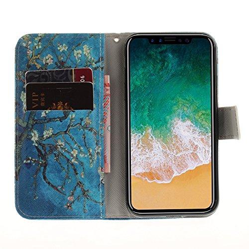 CLM-Tech Custodia Pelle Sintetica per Apple iPhone X Flip Case con funzione supporto Acchiappa Sogni rosa grigio Albero Ramo Fiori