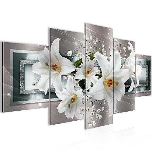 Bilder Blumen Lilien Wandbild 200 x 100 cm Vlies - Leinwand Bild XXL Format Wandbilder Wohnzimmer Wohnung Deko Kunstdrucke Grau 5 Teilig - MADE IN GERMANY - Fertig zum Aufhängen 204751c