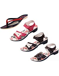 Indistar Women Comfortable Flip Flop House Slipper And Sandal-Black+Red- Pack Of 4 Pairs - B072M7J6TQ