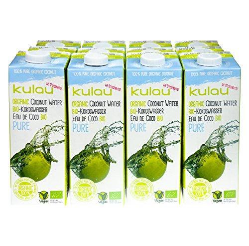 KULAU Bio-Kokoswasser PURE 1 Liter - 100% pures Kokosnusswasser aus der Kokosnuss, 12er Pack (12 x 1 L) (100% Natürliches Kokosnusswasser)