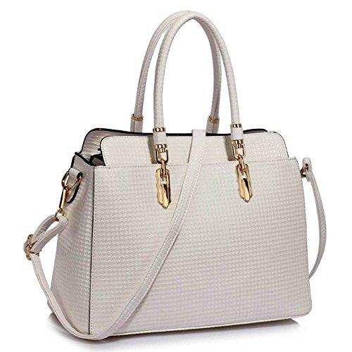TrendStar Damen-Taschen-Tasche Schultertasche Promi-Art-Frauen Entwerfer Poliertes Hardware Faux Leder Weiß