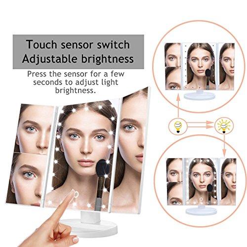 – Specchio per il Trucco a Tre Ante,con illuminazione LED,touch-screen, ricaricabile con USB, con 22 luci LED naturali, regolabile a 180°, per il trucco, ripiegabile, con illuminazione- Bianco confronta il prezzo online