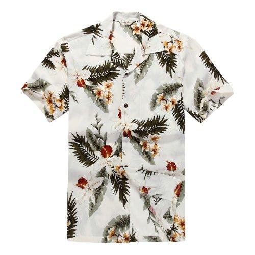 Camisa-hawaiana-de-los-hombres-Camisa-Hawaiana-XL-Orqudea-Crema