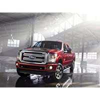 Classic and Muscle Car ADS and Car Art Ford super Duty Platinum (2013) Truck Art poster Print on 10 mil Archival satin Paper Red Front driver Side static View, Carta, Red Front Driver Side Static View, 20