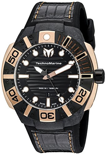 Technomarine Men's TM-514002 Black Reef Black Watch With Silicone and Leather Band