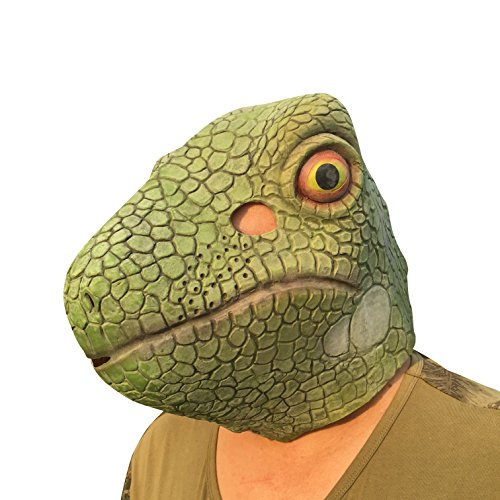 Gecko Lizard Eidechse Maske mask Kopf aus sehr hochwertigen Latex Material mit Öffnungen an Augen Halloween Karneval Fasching Kostüm Verkleidung für Erwachsene Männer und Frauen Damen Herren gruselig Grusel Zombie Monster Dämon Horror Party
